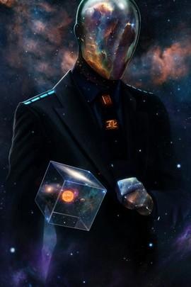 キューブマスクの男性