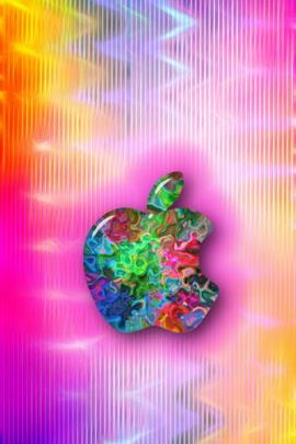 Colorful Squiggley Swirl Apple