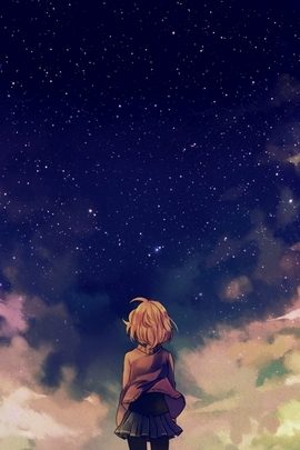 Starry Space And Anime Girl