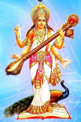 Saraswati Hindu Goddess Krishna
