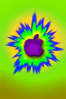 Cartoon Burst Purple Apple