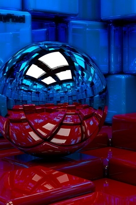 Ball Cubes Metal Blue Red Reflection 97785 720x1280