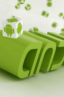 Android Logo Green White Robots Cubes 720x1280