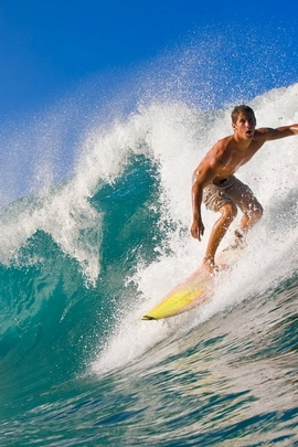Surfing Guy Wave Splashes Crest Extreme 8816 720x1280