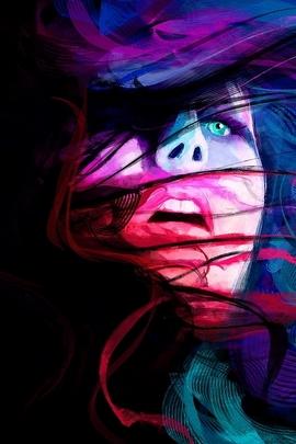 فتاة متعددة الألوان مع الشعر التلويح