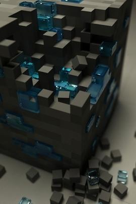Cube Black Blue Surface