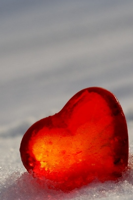 Heart Glass Ice Red Snow White 4239 720x1280