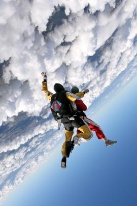 Jump Clouds Sky Plane Parachutists 25551 720x1280