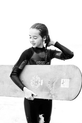 Girl Surfing Sea Board Black And White 26216 720x1280