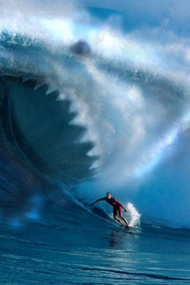 Wave Shark Surfing Surfer Teeth Water