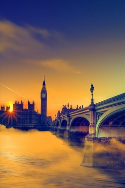Uk Sunset Big Ben Bridge