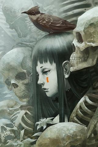 Girl With Dead Skull