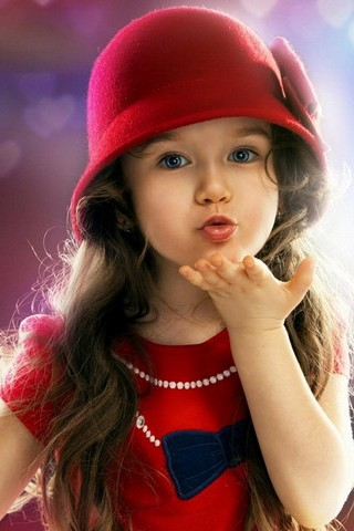 Little Girl Flying Kiss