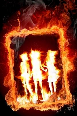 Girl Frame In Fire I