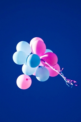 Flying Balloons In Blue Sky