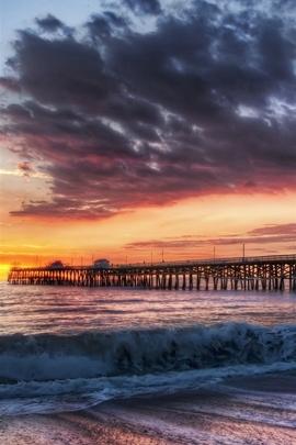 California Beach Dock Sunset