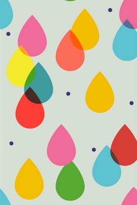 Cartoon Colorful Rain Drops