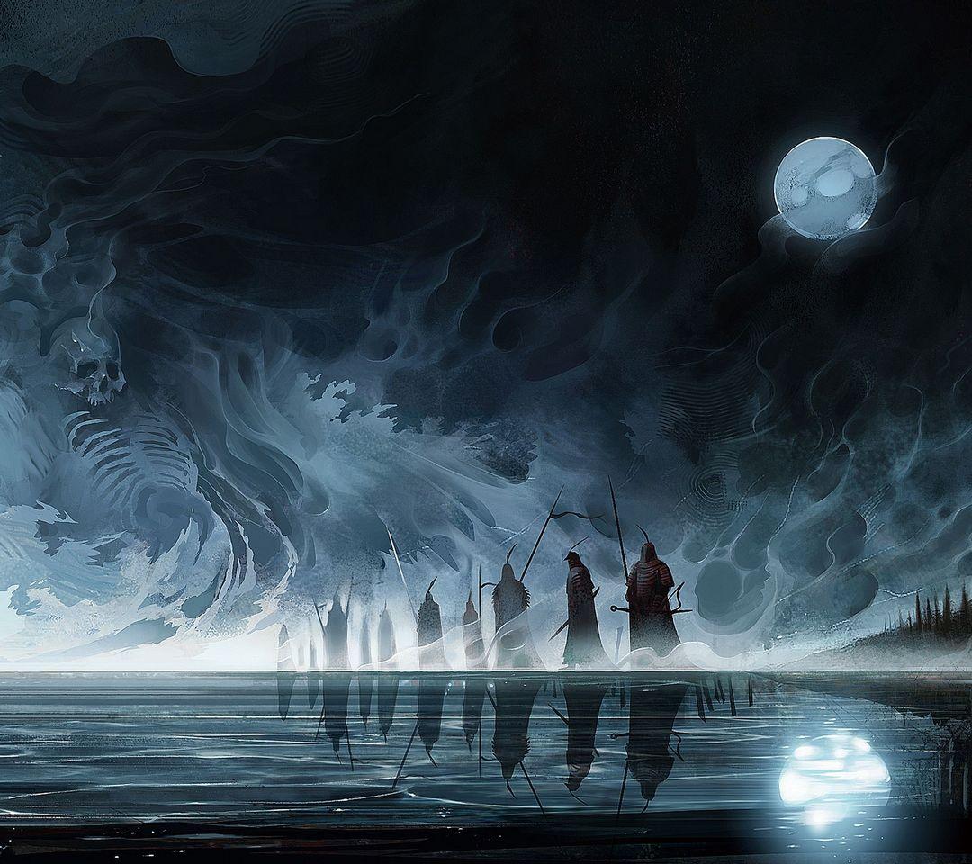 Mostri Moon Night Fantasy Skull Demon Reaper Sfondo Scarica Sul