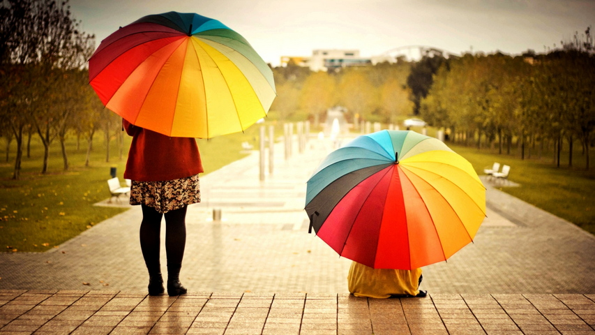 Umbrellas Colorful Kids Rainbow Weather Mood