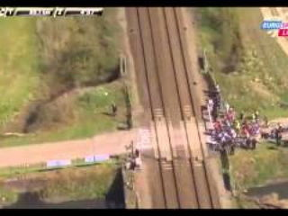 Train interferes with Paris - Roubaix cycle race in France.