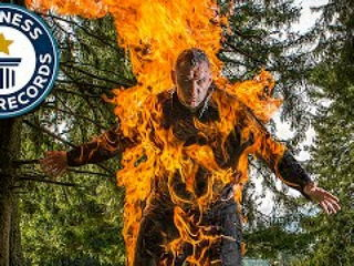 Human torch breaks three world records