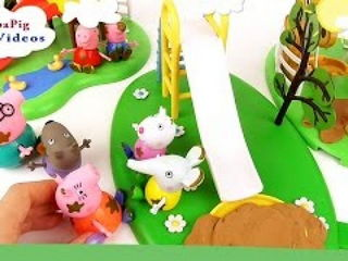 Peppa Pig with Family and her Friends Play at Muddy Puddle Playground