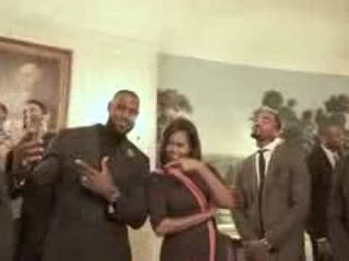LeBron James and Cleveland Cavaliers Mannequin Challenge with First Lady Michelle Obama!
