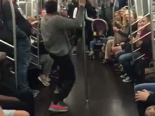 Unreal Dance Skills shown on a NY Subway