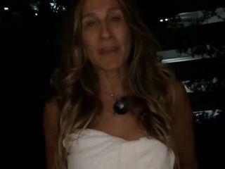 Sarah Jessica Parker takes ALS Ice Bucket Challenge in just a Towel (Nominates Kim Kardashian)