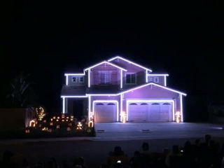 Halloween light show house in Riverside