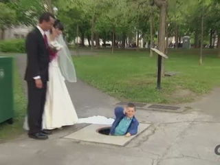 Kid Disappears Under Wedding Dress