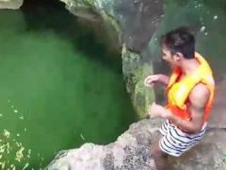 Funny Man Afraid To Jump In The Water