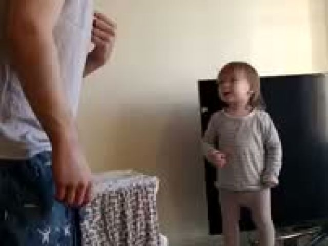 Adorable daddy daughter standoff