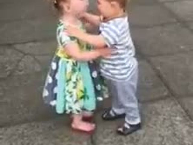 Little Kids Kiss Giggle