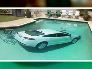 Man crashes vehicle into a pool and gets away without a scratch