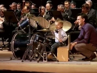 Kid plays drums with orchestra - Incredible Talent