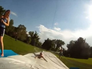 Giant zip line to slip 'n' slide