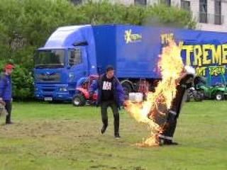 Lighting The Human Torch Slow Motion at the Extreme Stunt Show