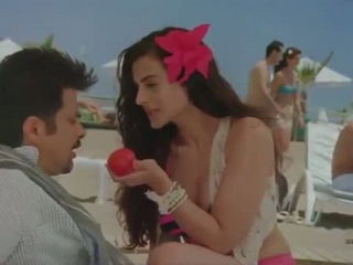 Ameesha Patel Hot Bikini romance in beach -Hot Hindi Movie scene