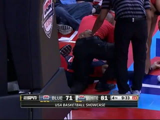 Paul George breaks his leg