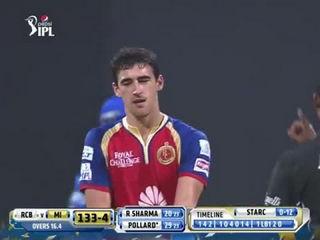 CRICKET FIGHT - Kieron Pollard vs Mitchell Starc (IPL2014- MI vs RCB - 27th Match)