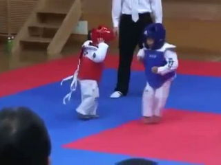 Funny Little Asian Kids Fighting Tae Kwon Do Sparring