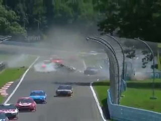 NASCAR Sprint cup Watkins Glen 2014 Huge crash Mcdowell Newman