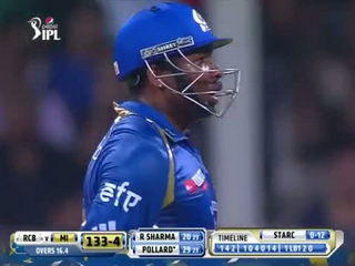 Greatest Cricket Fight - Kieron Pollard vs Mitchell Starc IPL2014 MI vs RCB 27th Match