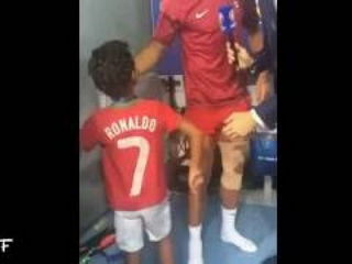 Cristiano Ronaldo Jr. helps his father with interview after Euro 2016 Final Game