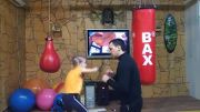 Little girl boxing with her father