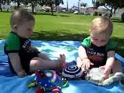 Funny Twin Babies Fight Over Water Bottle
