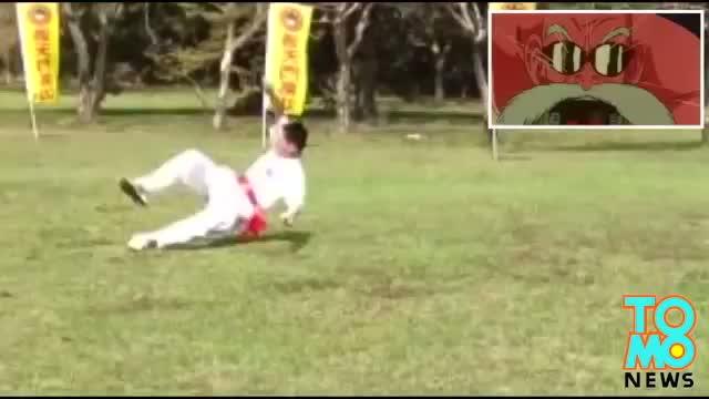 Dragon Ball Disciple knocked over by real life Kamehameha energy ball